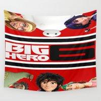 big hero 6 Wall Tapestries featuring BIG HERO 6, FILMS,MOVIE by ira gora