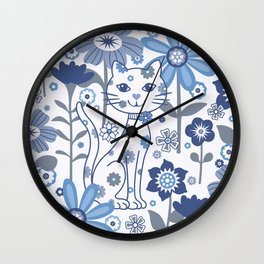 Blue and White Garden Cat Wall Clock