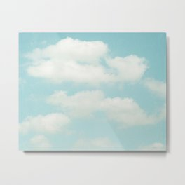 Blue Sky Clouds Photography, Aqua White Cloud Nature, Boys Room Nursery Photo Metal Print