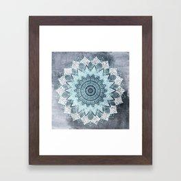 BOHOCHIC MANDALA IN BLUE Framed Art Print