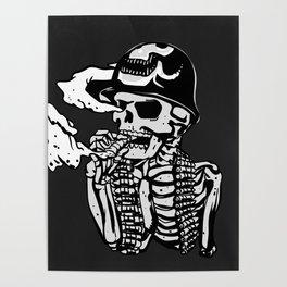 Military skeleton illustration - Soldier skull Poster