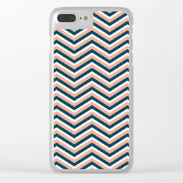Chevron   Pink, Blue & White Clear iPhone Case