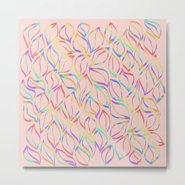 Rainbow Petals on Pink Metal Print