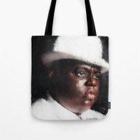 biggie smalls Tote Bags featuring Biggie Smalls by André Joseph Martin