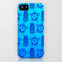 Blue Honu And Tiki Mask iPhone Case