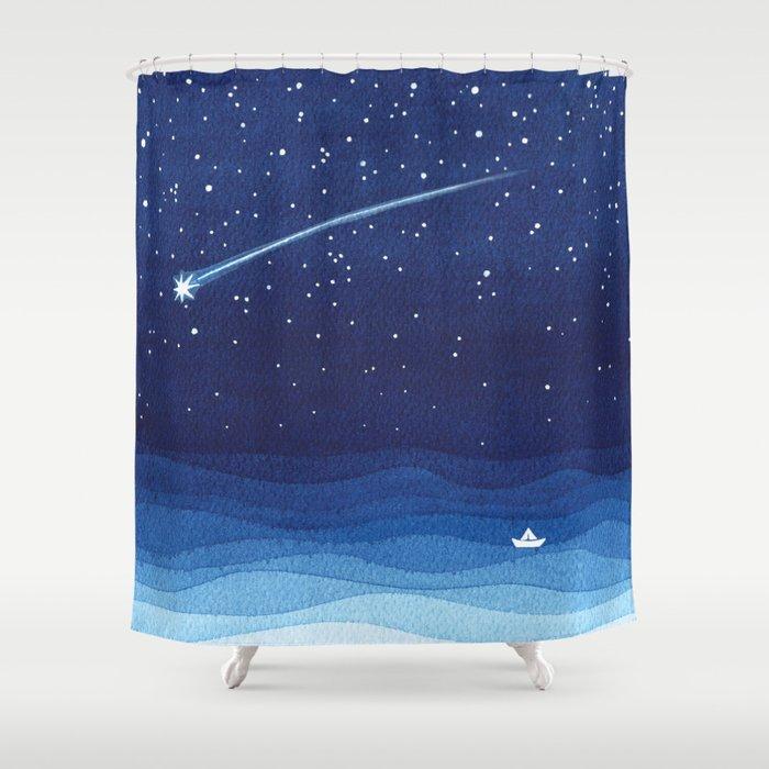 Falling Star Shooting Sailboat Ocean Waves Blue Sea Shower Curtain