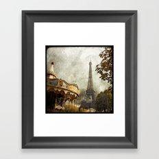 The Carousel and the Eiffel Tower - Paris Framed Art Print