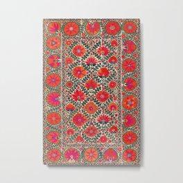 Kermina Suzani Uzbekistan Colorful Embroidery Print Metal Print