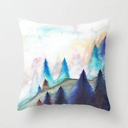 Mist Forest Throw Pillow