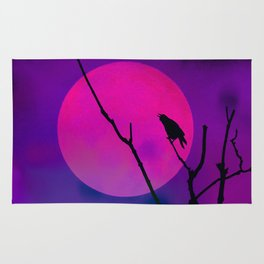 The Crow And The Pink Moon Rug