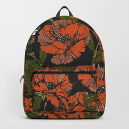 Autumnal flowering of poppies Backpack