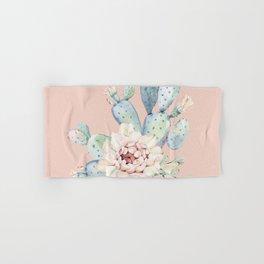Sweet Pink Rose Desert Cactus Hand & Bath Towel