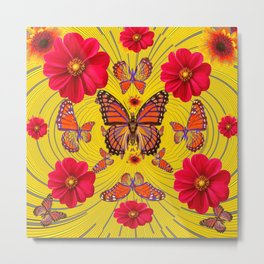 RED FLOWERS MONARCH BUTTERFLY FANTASY ART Metal Print
