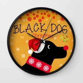 Black Dog Christmas Wall Clock