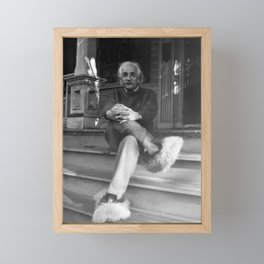 Albert Einstein in Fuzzy Slippers Classic Black and White Satirical Photography - Photographs Framed Mini Art Print