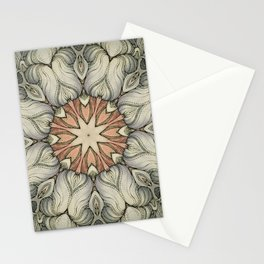 abstract flowers hand drawn and  kaleidoscope mandala Stationery Cards