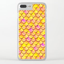 Yellow Pink Scales Clear iPhone Case