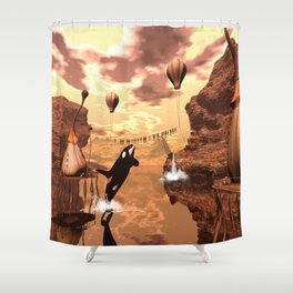 Funny orca Shower Curtain