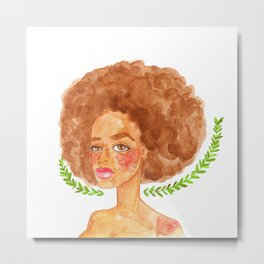 watercolor portrait of a beautiful freckled woman Metal Print