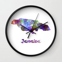 Jamaica in watercolor Wall Clock