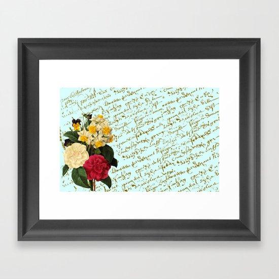 Botanical French Script Framed Art Print