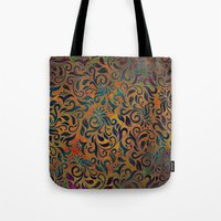 antique Tote Bags featuring ANTIQUE PATTERN by Klara Acel