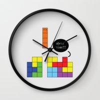 tetris Wall Clocks featuring Tetris by Digital Sketch