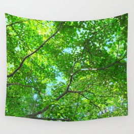 Canopy of Green, Leafy Branches with Blue Sky Wall Tapestry