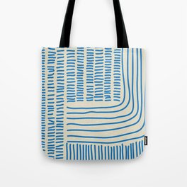 Digital Stitches thick beige + blue Tote Bag
