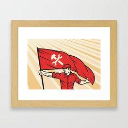 worker holding a flag - industry poster (design for labor day) Framed Art Print