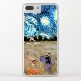 Monet's Poppies with Van Gogh's Starry Night Sky Clear iPhone Case