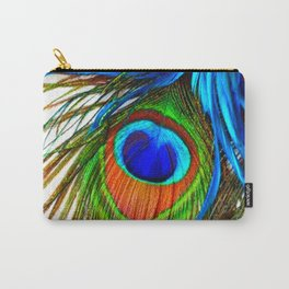 BLUE PEACOCK EYE FEATHER DESIGN Carry-All Pouch
