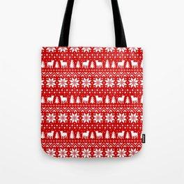 American Bulldog Silhouettes Christmas Sweater Pattern Tote Bag