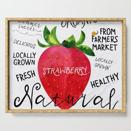 Watercolor strawberry Serving Tray