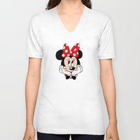 minnie mouse V-neck T-shirts featuring Very cute Minnie Mouse by Yuliya L