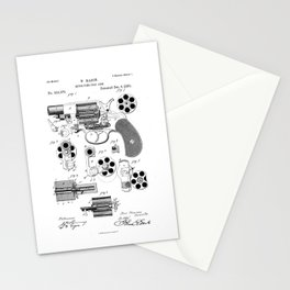 Revolver Patent Drawing Stationery Cards