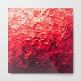 MERMAID SCALES 4 Red Vibrant Ocean Waves Splash Crimson Strawberry Summer Ombre Abstract Painting Metal Print