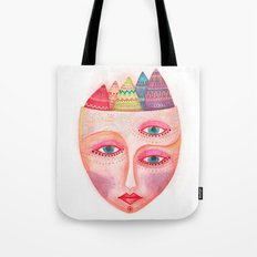 girl with the most beautiful eyes mask portrait Tote Bag