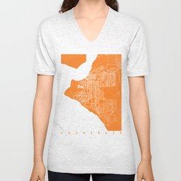 Anchorage map orange Unisex V-Neck