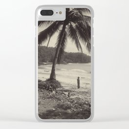 Vintage Tropical Palm Tree Photo Clear iPhone Case