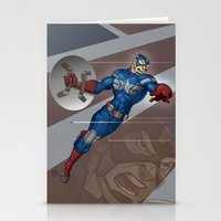 steve rogers Stationery Cards featuring Captain Steve Rogers by Jesse J Larsen