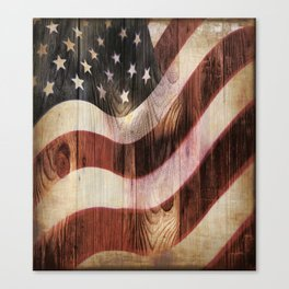 AMERICAN FLAG WOODEN Canvas Print