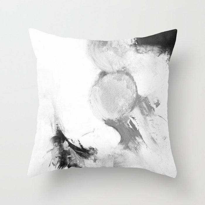 Abstract blur black and white circles monochrome Throw Pillow