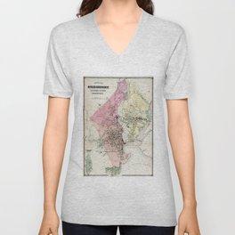 Vintage Map of Bridgeport CT (1867) Unisex V-Neck