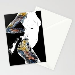 Traditional japanese body koi tattoo, Black and white illustration, Nude art, Naked beauty body Stationery Cards