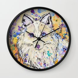 Frost - Watercolor fox painting Wall Clock