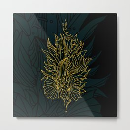 Nested in Gold Metal Print