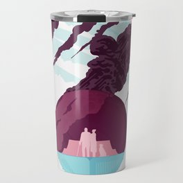 Enceladus Retro Space Travel Poster muted mauve Travel Mug