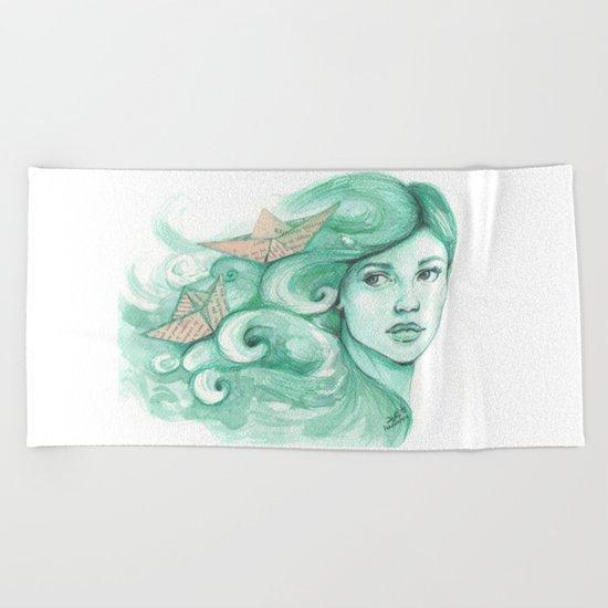 Paper ships Beach Towel