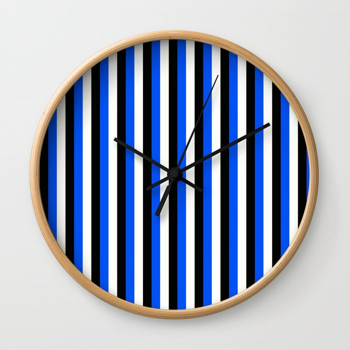 Team Colors 4... blue, black Wall Clock